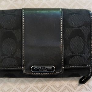 Coach Signature Black Fabric & Leather Wallet